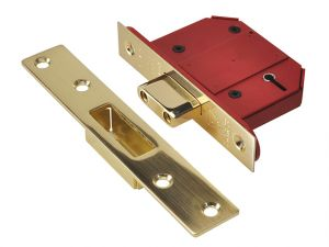 StrongBOLT 2100S BS 5 Lever Mortice Deadlock 68mm 2.5in Satin Brass Box