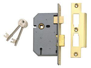 2277 3 Lever Mortice Sashlock Polished Brass 77.5mm 3in Box
