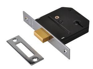 ES-DL Essentials 3 Lever Mortice Deadlock Polished Brass 65mm 2.5in Visi