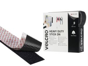 VELCRO® Brand Heavy-Duty Stick On Tape 50mm x 5m Black