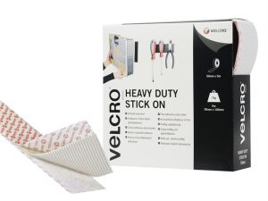 VELCRO® Brand Heavy-Duty Stick On Tape 50mm x 5m White