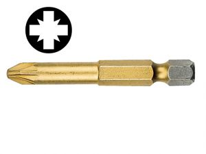 Pozidriv 1pt Titanium Coated Screwdriver Bit 50mm