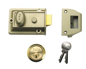 P77 Traditional Nightlatch 60mm Backset Nickel Brass Finish Box