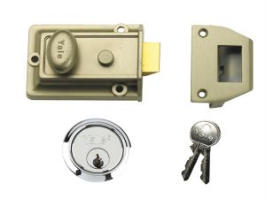 P77 Traditional Nightlatch 60mm Backset Nickel Brass Finish SC Cylinder Box