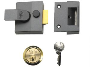 85 Deadlocking Nightlatch 40mm Backset DMG Finish Satin Chrome Cylinder Box