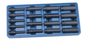 Genius 1/2in. Drive 17 Piece Thin Wall Deep Impact Socket Set 12pt Metric 8 - 24mm