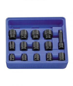 Genius 3/8in. Drive 14 Piece Standard Impact Socket Set 6pt Metric 8 - 21mm