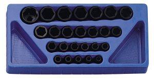 Genius 1/2in. Drive 25 Piece Standard Depth Impact Socket Set Metric 8 - 32mm