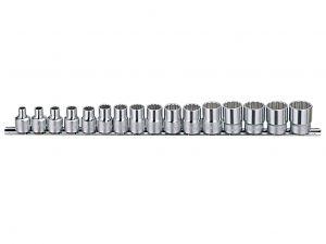Genius 3/8in. Drive 16 Piece Standard Socket Set 12 Point Bi-hex Metric 6 - 21mm.